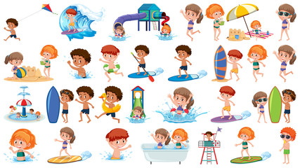 Set of summer kids