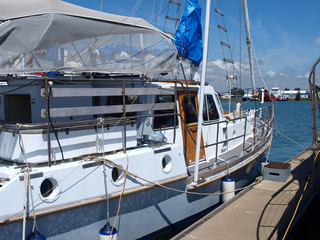 Gladstone Marina. Moored boat closeup.