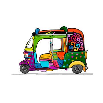 Tuktuk, motorbike asian taxi. Sketch for your design