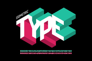 Isometric 3d font design, three-dimensional alphabet letters and numbers Fotobehang