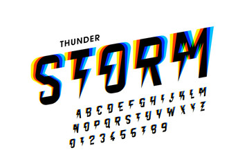Thunder storm style font design, alphabet letters and numbers