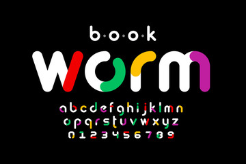 Bookworm style font design, alphabet letters and numbers