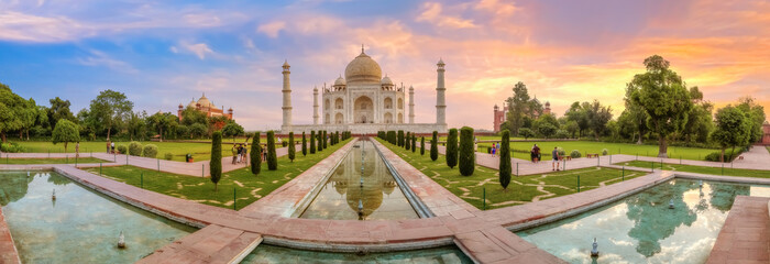 Wall Mural - Taj Mahal Agra panoramic view at sunrise. Taj Mahal is a UNESCO World Heritage site at Uttar Pradesh India.