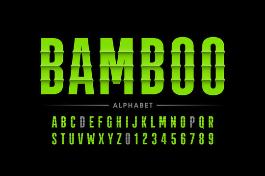 Bamboo style font design, alphabet letters and numbers