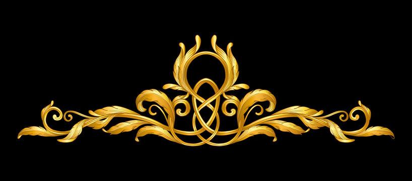 gold baroque frame scroll on black