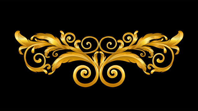 gold vintage baroque frame scroll on black