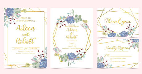 Wall Mural - Geometry wedding invitation with cactus and leaves.Vector birthday invitation for kid and baby