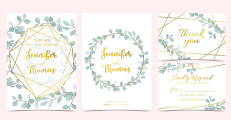 Wall Mural - Geometry wedding invitation with wreath and leaves.Vector birthday invitation for kid and baby
