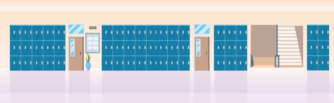 lockers hall near staircase empty no people school corridor interior hallway banner flat horizontal