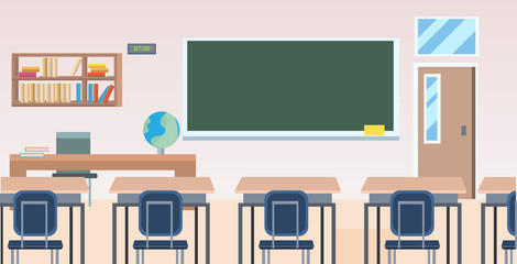Fototapeta school classroom with furniture board desk empty no people class room interior flat horizontal obraz