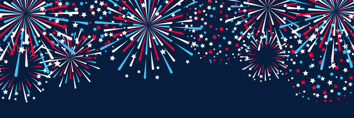 Obraz Horizontal panoramic banner with fireworks for Independence day design - fototapety do salonu