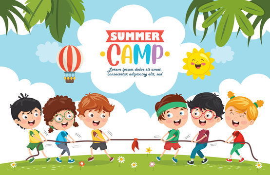 Vector Illustration Of Kids Summer Camp
