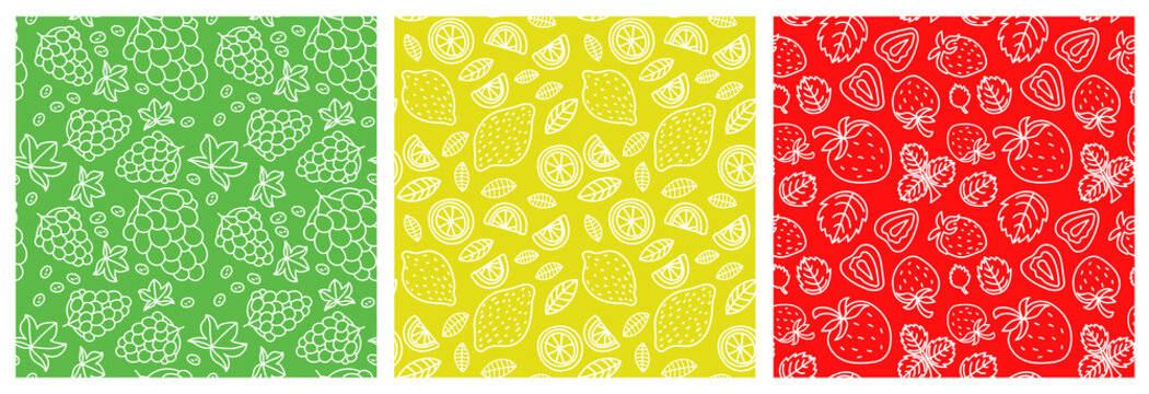 Grapes, lemon and strawberry. Fruit seamless pattern set. Fashion design. Food print for clothes, linens or curtain. Hand drawn line vector sketch background collection