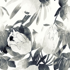 monochrome floral spring abstract rustic seamless pattern of flowers and leaves. digital hand drawn picture with