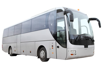 Modern tourist bus on white background.