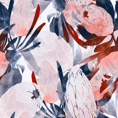 imprints protea flowers and leaves mix repeat seamless pattern. digital hand drawn picture with watercolour texture.
