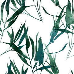 imprints bamboo leaves mix repeat seamless pattern. digital hand drawn picture with watercolour texture. mixed media