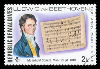MALDIVES - CIRCA 1977: a stamp printed in Maldives shows Ludwig van Beethoven, Moonlinght Sonata, Manuscript 1701, circa 1977.