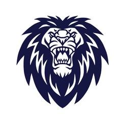 Lion Head Logo Roaring Mascot Vector Icon Design