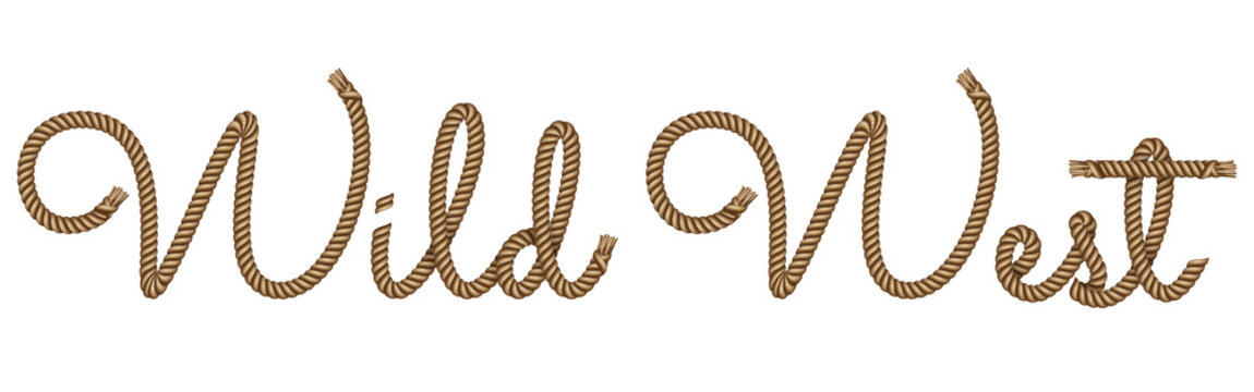 Rope hand drawn lettering Wild West with 3d realistic effect. Vector illustration EPS 10.
