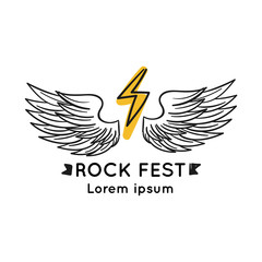 Rock fest badge/Label vector. Heavy music festival hipster logo. For band signage, prints and stamps.