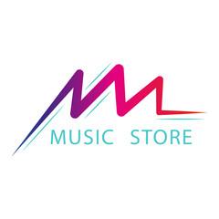 Vector music logo, label or emblem design concept for music store, recording studio, radio station or festival.