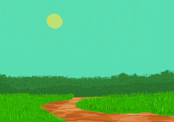 Poster Turquoise Dirt road landscape vector