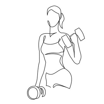 Woman lifting weights continuous one line drawing. Female bodybuilder vector hand drawn