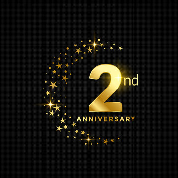 Golden happy 2nd Anniversary. with gold star glitter on dark background.Greeting card, banner, poster