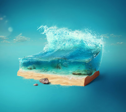 Travel and vacation background. 3d illustration with cut of the ground and the beautiful sea underwater. Baby sea isolated on blue.