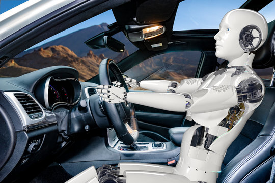 Humanoid robot driving car, vision of artificial intelligence in automotive-vision of an autonomous car