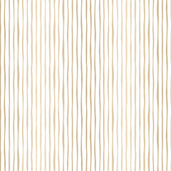 Gold Thin Hand Drawn Wavy Uneven Vertical Stripes On White Backrgound Vector Seamless Pattern. Classic Abstract Geo