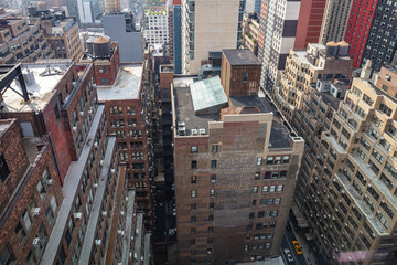 Fototapete - New York, Manhattan. Aerial view of skyscrapers, high angle view