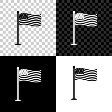 National flag of USA on flagpole icon isolated on black, white and transparent background. American flag sign. Vector Illustration