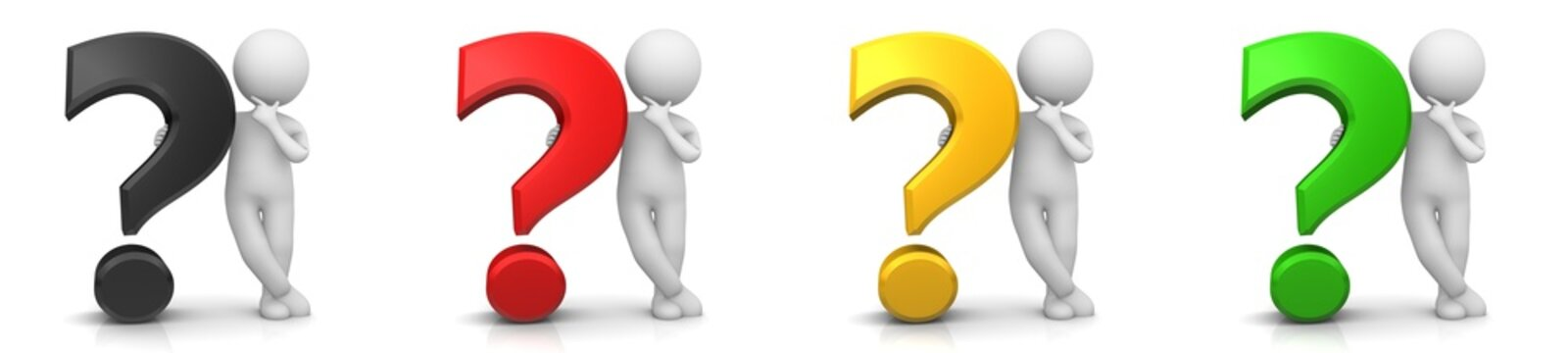 question mark 3d black red golden yellow green interrogation point queries standing thinking asking stick man person sign multi colored symbols icon set isolated on white background