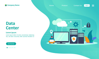 Data Center concept, cloud Computer Connection to server center with people character, Suitable for web landing page, ui, mobile app, banner template. Vector Illustration Wall mural