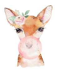 Wall Mural - Watercolor forest cartoon isolated cute baby deer, animal with flowers. Nursery woodland illustration. Bohemian boho drawing for nursery poster, pattern