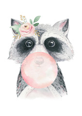Wall Mural - Watercolor forest cartoon isolated cute baby raccoon, animal with flowers. Nursery woodland illustration. Bohemian boho drawing for nursery poster, pattern