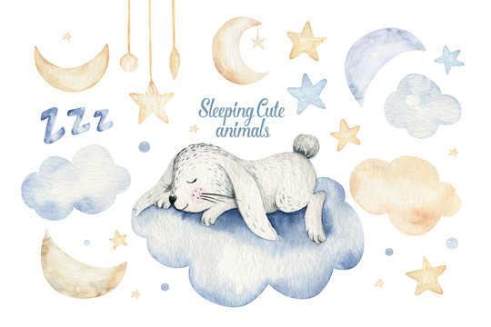 Cute dreaming cartoon animal hand drawn watercolor illustration. Sleeping charecher kids nursery wear fashion design, baby shower invitation card.