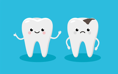 Happy Healthy Tooth and Moody Tooth with cavity Cartoon characters in flat design. Dental Infographic elements concept vector illustration in flat design.