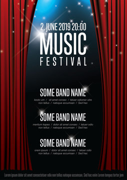 Vector music festival poster template with theatre stage illustration