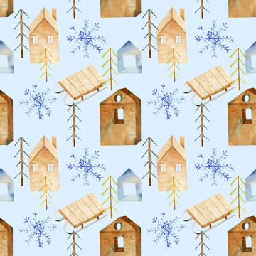 Winter seamless pattern of watercolor Christmas elements in scandinavian style, hand drawn on a blue background