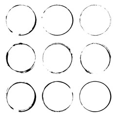 Wall Mural - Grunge design element ink circles. Black round frames on a white background. Set of cofee ring stains.