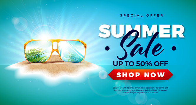 Summer Sale Design with Exotic Palm Leaves in Sunglasses on Tropical Island Background. Vector Special Offer Illustration with Blue Ocean Landscape for Coupon, Voucher, Banner, Flyer, Promotional