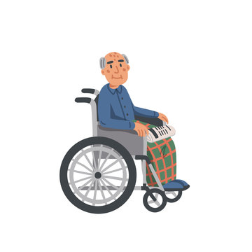 Elderly man in wheelchair. Old man grandfather disabled in wheelchair isolated on white background. Nursing home. Senior people healthcare assistance flat Vector illustration.