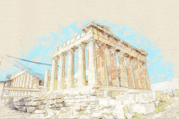 Sketch of ruins of ancient temple on Acropolis hill, Athens