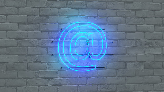 Blue neon light email symbol 3D rendering