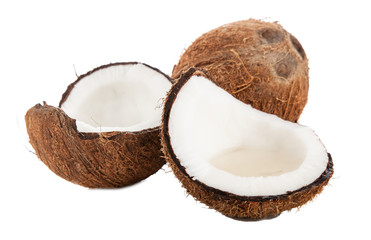 Cracked coconut isolated on white background