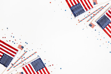 4th of July American Independence Day decorations on white background. Flat lay, top view, copy space