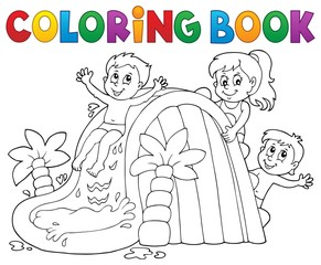 Poster For Kids Coloring book kids on water slide 1